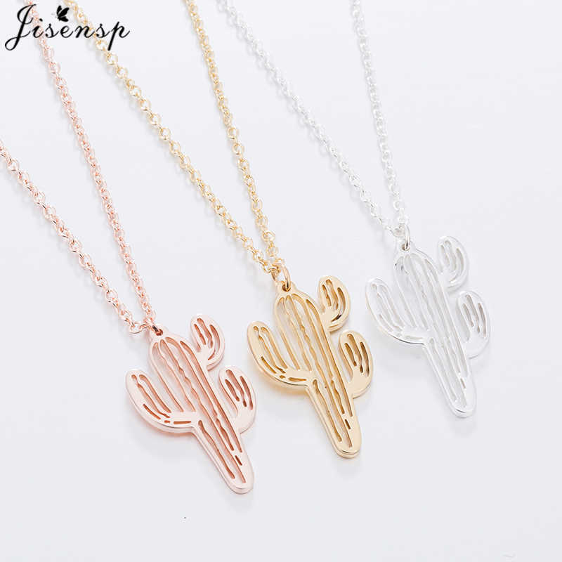 Jisensp Fashion Cactus Pendant Stainless Steel Necklace Simple Style Natural Plant Y Chain Choker Necklace Birthday Bijoux