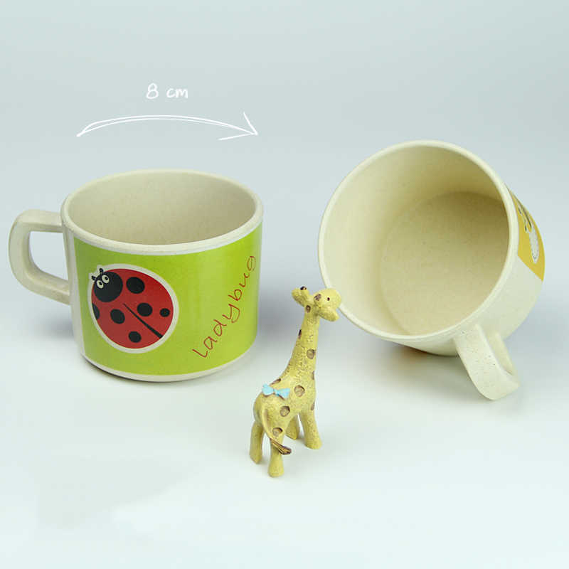 Tazas para bebé, tazas para bebé con animales de bambú, bonitas tazas para bebé con mango, Material seguro natural, vasos para chico