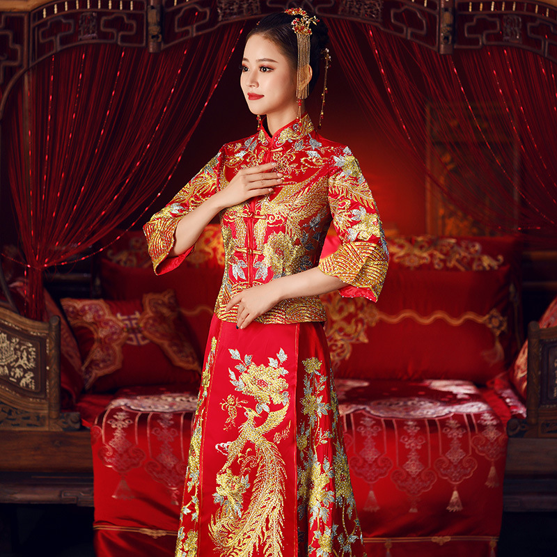 ccbc95b9472c8 US $15.05 49% OFF|Women Phoenix Embroidery Wedding Dress Bride Traditions  Traditional Evening Gown Chinese Cheongsam Long Sleeve Qipao Plus Size -in  ...