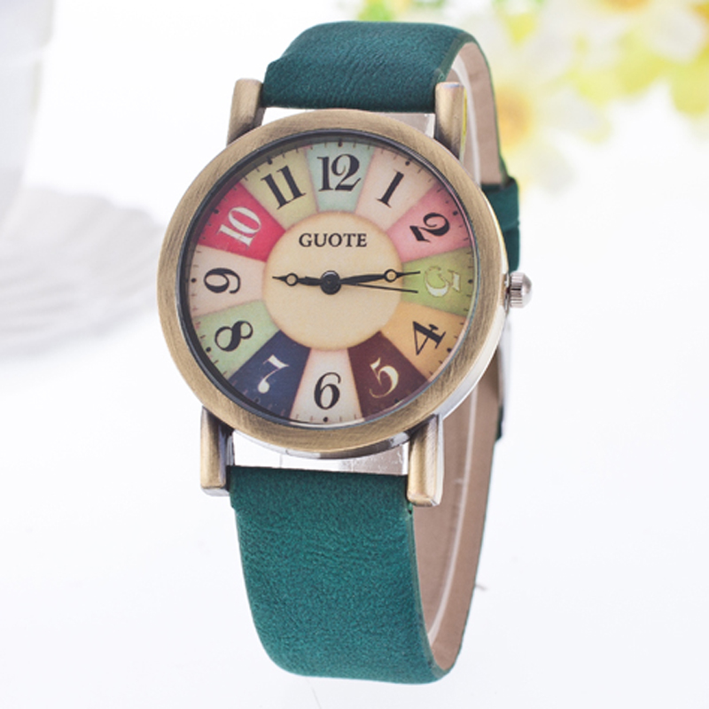 Brand Vintage Style Fashion Watch Women Elegant Leather Strap Sweet Rainbow Color Number Casual