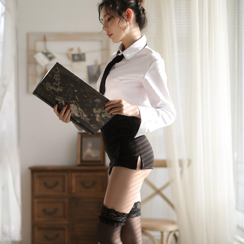 Women Plus Size Porn Lingerie Sexy Hot Erotic Porno Long Sleeves Shirt +Skirt Office Secretary Teacher Cosplay Sexy Costumes