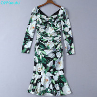 QYFCIOUFU Hot Sell 2019 Green Long Sleeves Floral Print Women Dress Milan Runway Bodycon Dress Designer Fishtail Dress Women
