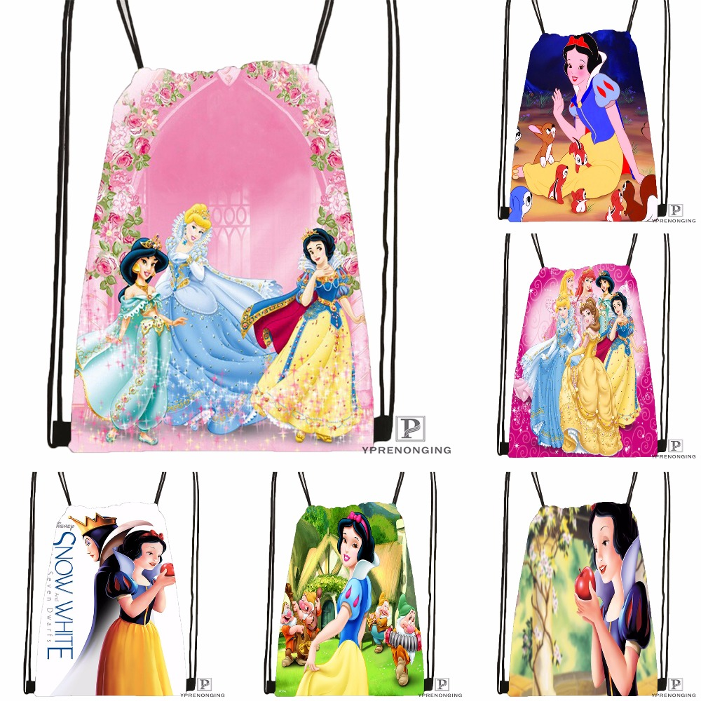 CustomSnow White Seven Dwarfs #1 Drawstring Backpack Bag Cute Daypack Kids Satchel (Black Back) 31x40cm#180531-02-34