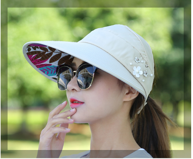 48b2b23ad5d 2018 New simple women summer beach Sun Hats pearl packable sun visor hat  with big heads