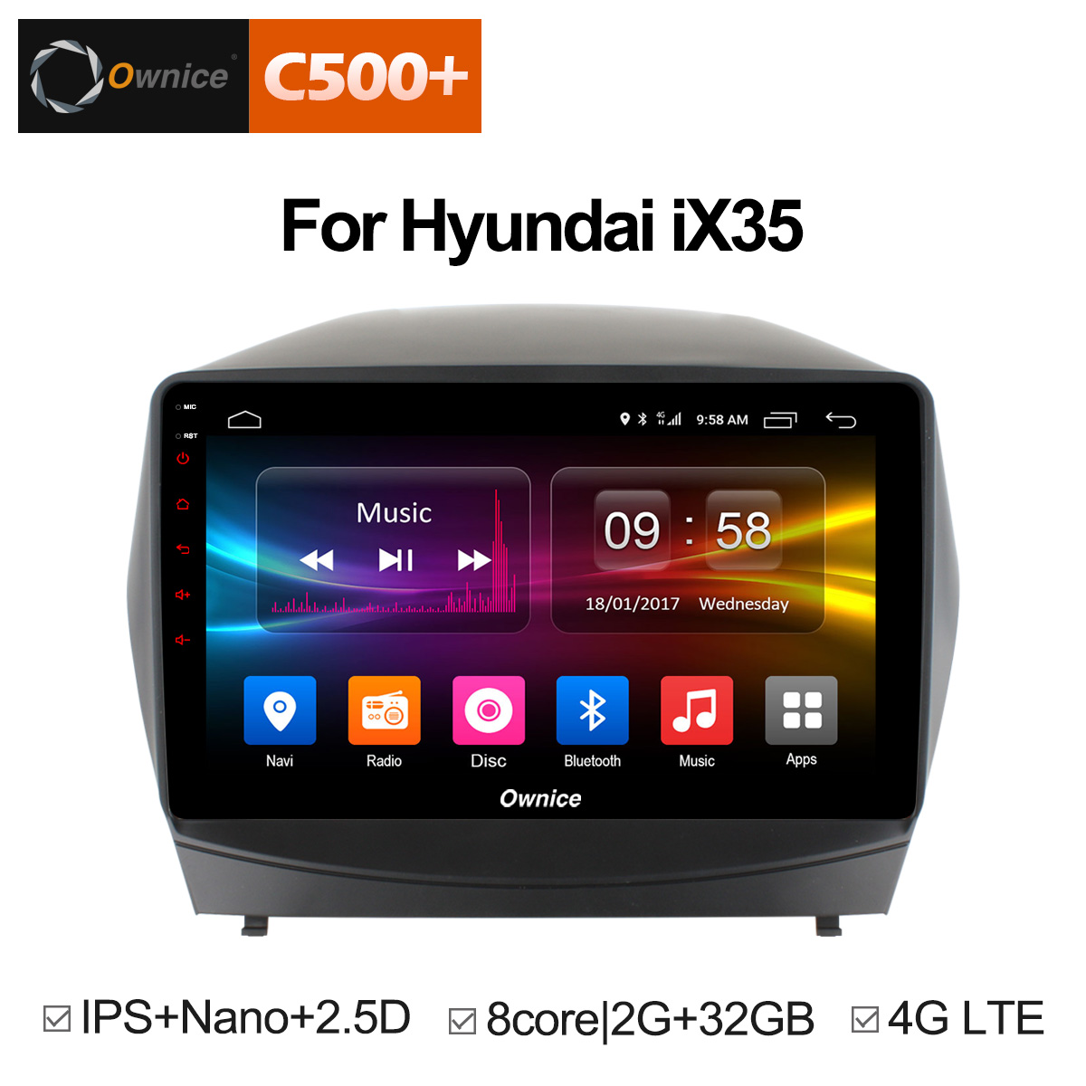 Ownice C500 + G10 Octa Oito Núcleo Android 8.1 rádio Car DVD player GPS para Hyundai iX35 2010-2015 2g RAM 32g Apoio ROM 4g LTE
