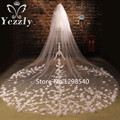 Gorgeous 2T 3M Long Cathedral Wedding Veils With Pearls Real White/Iovry Flower Applique Bridal Veil With Comb Veu De Noiva WB57