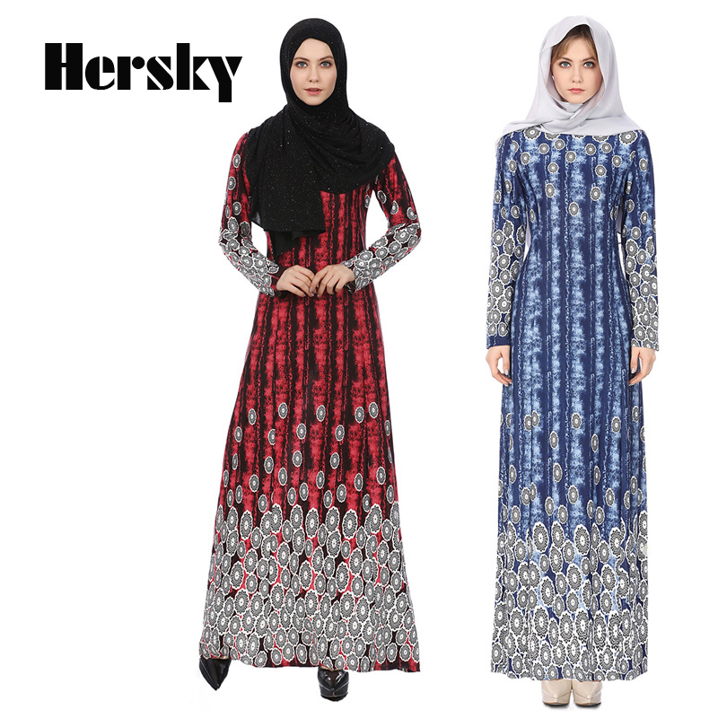 Fashion Abaya Muslim Robe Dress Women Islam Printed Moroccan kaftan Clothing Turkish Clo ...