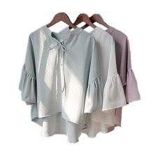 Big Size V-collar Pink Chiffon Blouse Lo