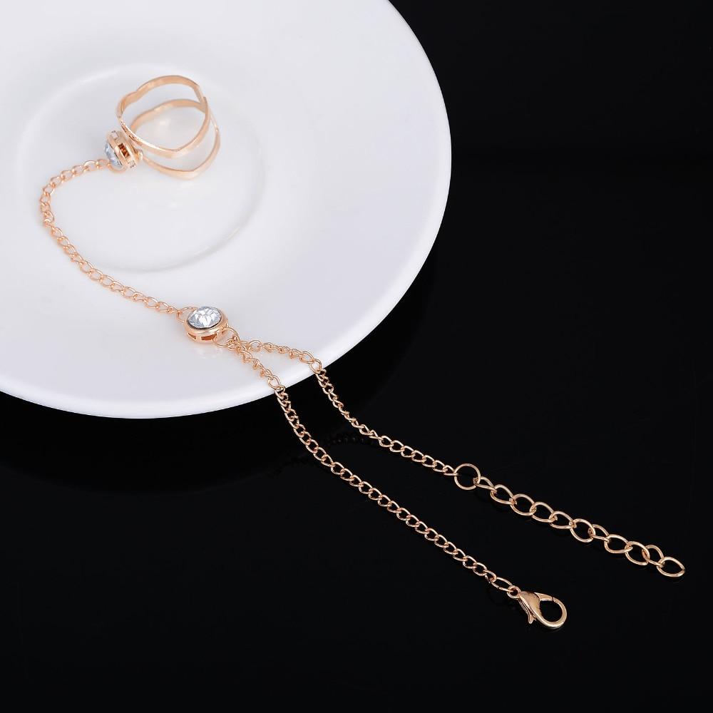 2018 Mode Cantik Berlian Imitasi Gelang Bangle Terhubung Cincin Jari - Perhiasan fashion - Foto 4