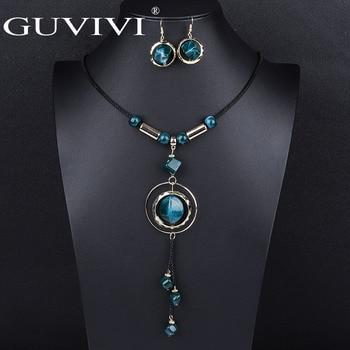 Wholesale Bohemian Tassel Long Pendant Necklaces And Drop Cz Earrings Sets Fashion Statment Jewelry Set