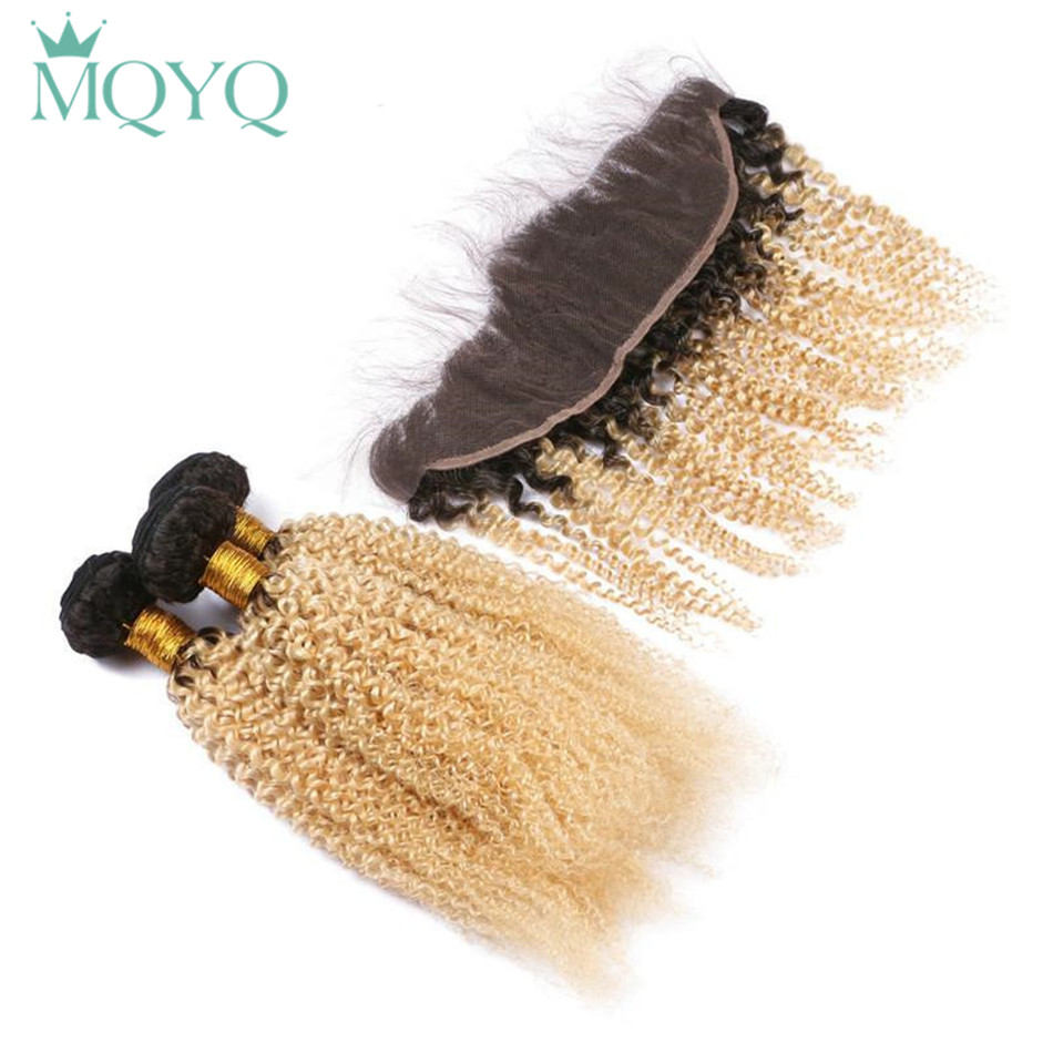 MQYQ предварительно Цветной Ombre Цвет T1B/613 бразильские странный вьющиеся человеческих волос 3 Связки с закрытием кружева фронтальной блондинк...