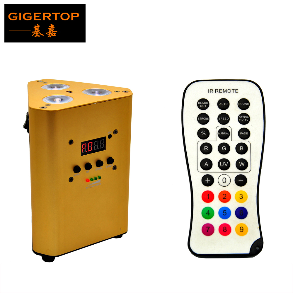 TIPTOP TP-G3047-4IN1 2016 Pro IRC Remote Control Battery Powered 3*10W rgba 4in1 DJ Uplight Battery Gauge Monitoring 7 DMX Mode