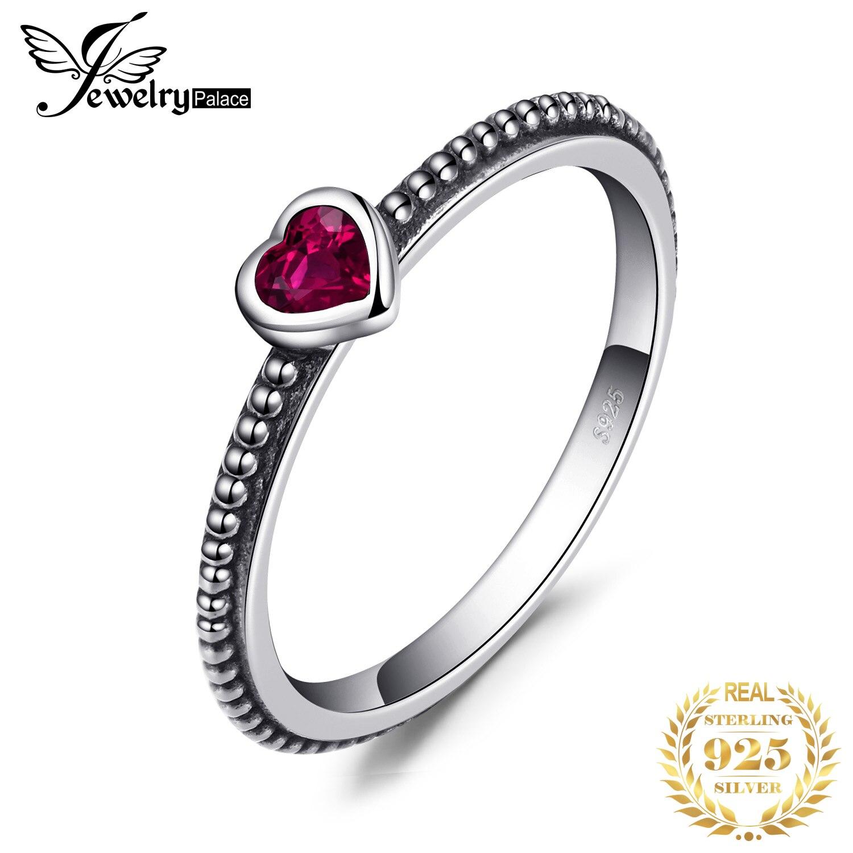 Jewelrypalace Liebe Herz Birthstone Erstellt Rubinen Stapelbar Ring 925 Sterling Silber Ring Frauen Mode Engagement Ring