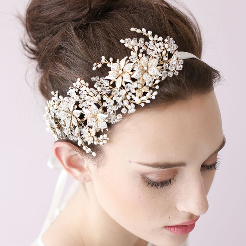 New Handmade Flower Hair Head Pieces Crystal Wedding Band Pearl Bridal Headbands With Ribbon Bride Vine Accessories In Jewelry From