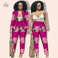 Autumn africa bazin fabric women blazer trouser suit blouses dashiki wax print african ankara sets styles for women WY019