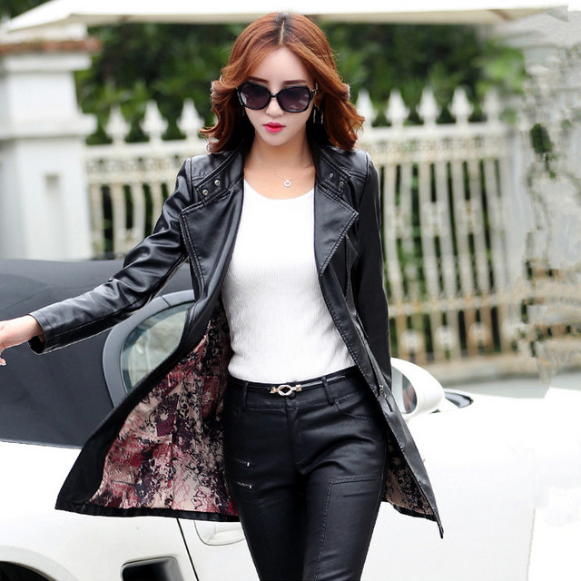 M-5XL Leather Coat Jacket Women Fashion Slim Patchwork Long Female Jacket High Quality PU Motorcycle Autumn Winter Outerwear