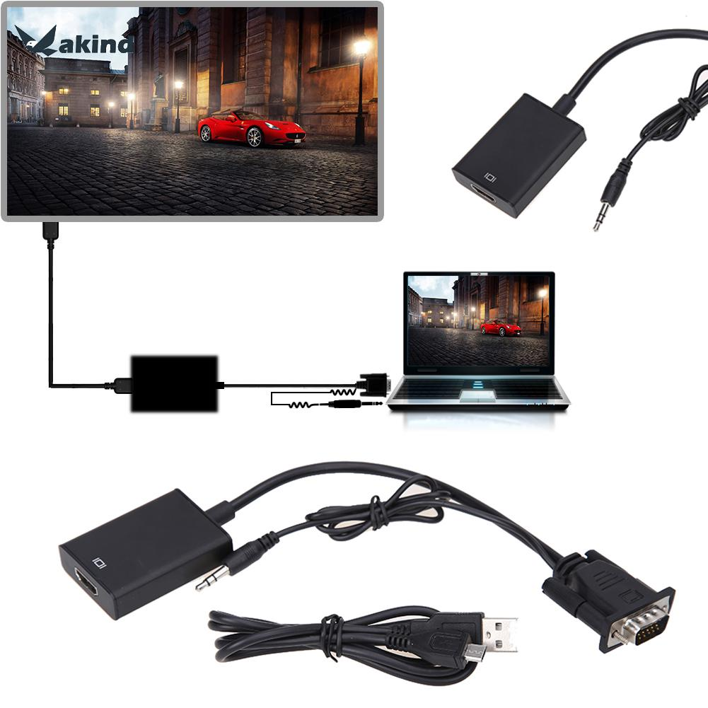 1080P HD VGA to HDMI Converter Adapter with Audio + Micro USB 2.0 Power Cable for TV PC laptop DVD Set TOP Box mool 1080p audio vga to hdmi hd hdtv video converter box adapter for pc laptop dvd