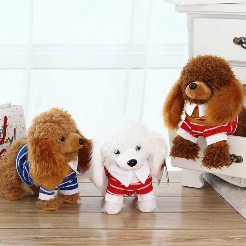 Robot Dog Electronic Dog Electronic Plush Pet Toy Singing 2 English Songs Walk Bark Leash Teddy Toys For Children Birthday Gifts