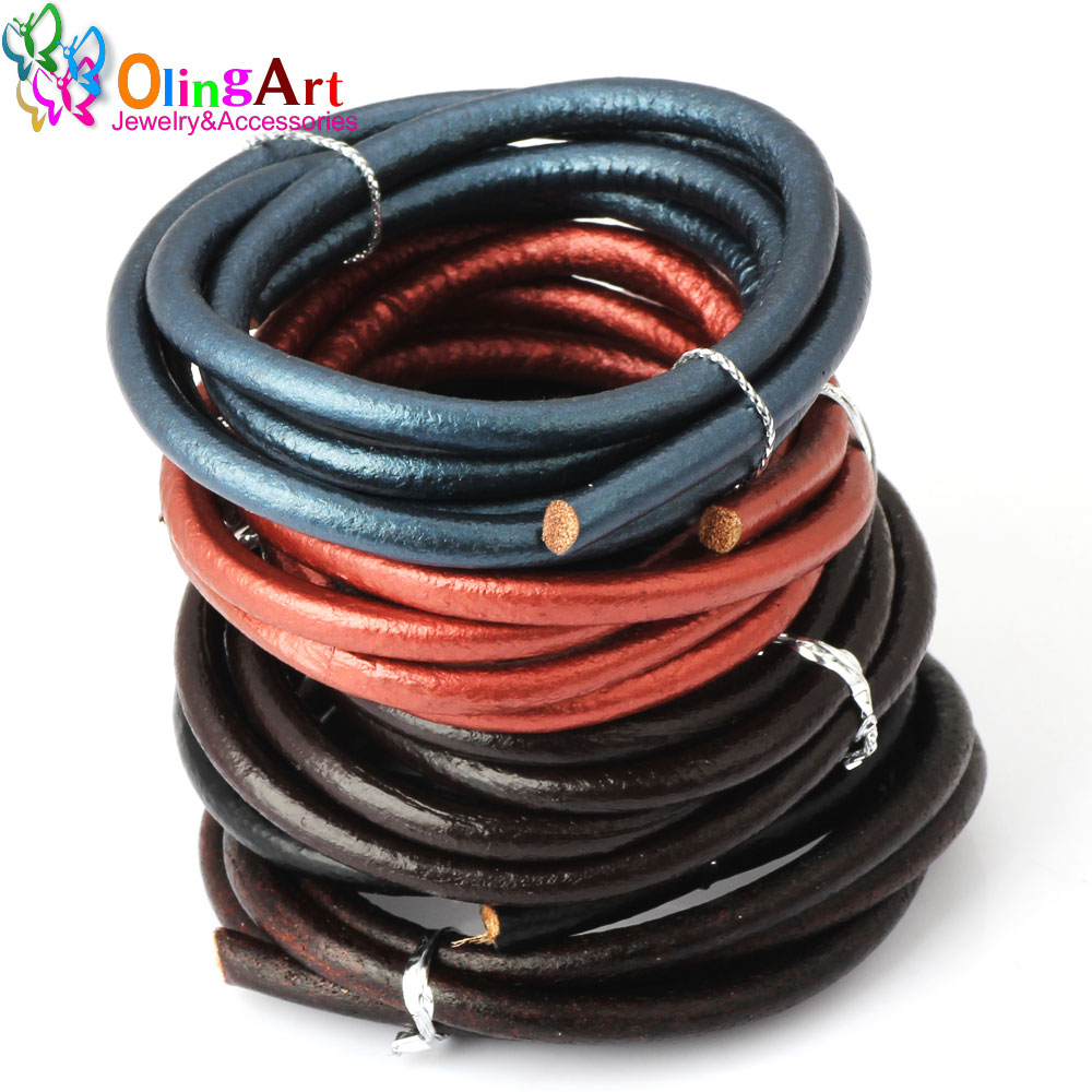 OlingArt 5MM 1Yard Round Leather Cord/Wire DIY Brown/black /leather Women Earrings Bracelet Choker Necklace Jewelry Making