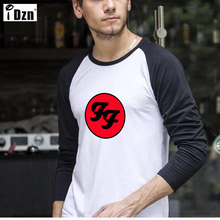 New Design Raglan Long T Shirt Men Foo Fighters Hard Rock And Roll Band Tee Shirts Soft Cotton Slim Fit Patchwork Crew Neck Tops