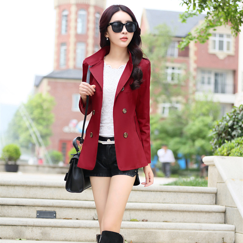 Spring 2016 Fashion Slim Double Breasted Temperament Short font b Coat b font