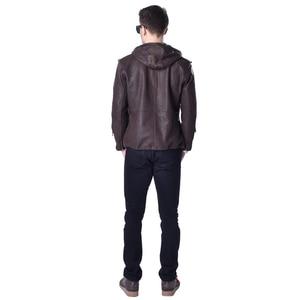 Image 5 - Veste en cuir véritable homme, marque en peau de vache, décontracté, Slim, avec capuche en vrai mouton, pour moto, printemps automne ZH141