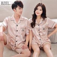 BZEL 2019 קיץ חדש אופנה התאמת זוג פיג מה סטי חיקה משי בד Pyjama Nightwear חליפת אוהבי הלבשה תחתונה חולצות + מכנסיים קצרים