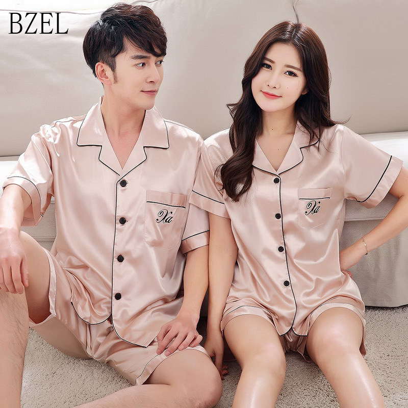 BZEL 2019 Summer New Fashion Matching Couple Pajama Sets Imitated Silk Fabric Pyjama Suit Nightwear Lovers' Lingerie Tops+Shorts