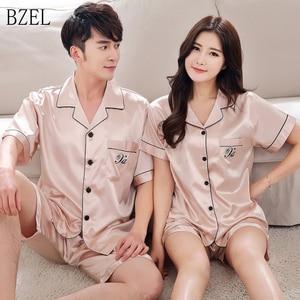Image 1 - BZEL 2019 Summer New Fashion Matching Couple Pajama Sets Imitated Silk Fabric Pyjama Suit Nightwear Lovers Lingerie Tops+Shorts