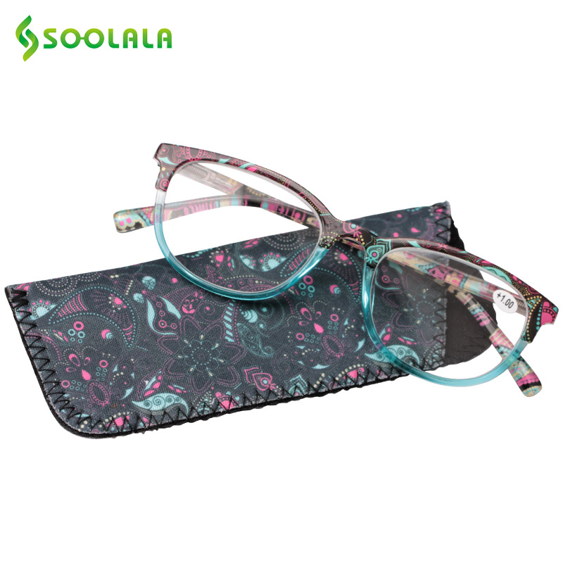 SOOLALA Floral Printed Reading Glasses Men Women Spring Hinge Wide Lens Reading Glass w/ Pouch +1.0 1.25 1.5 to 4.0