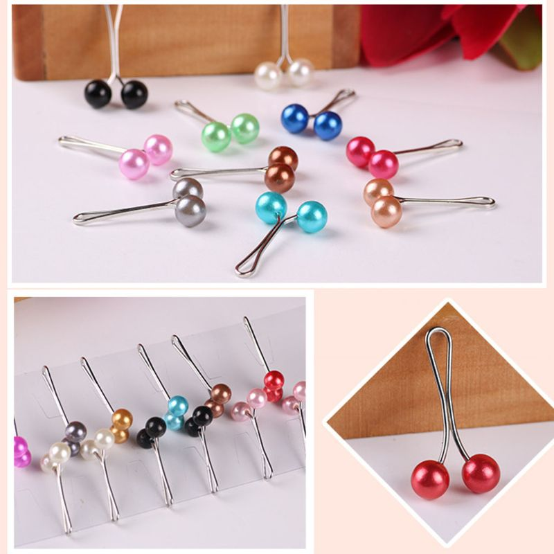 Image 5 - 12Pcs/Pack Muslim Women Scarves Hijab Stainless Steel U Clips  Colored Imitation Pearl Ball Pendant Safety Shawl Brooch PinsWomens  Hair Accessories