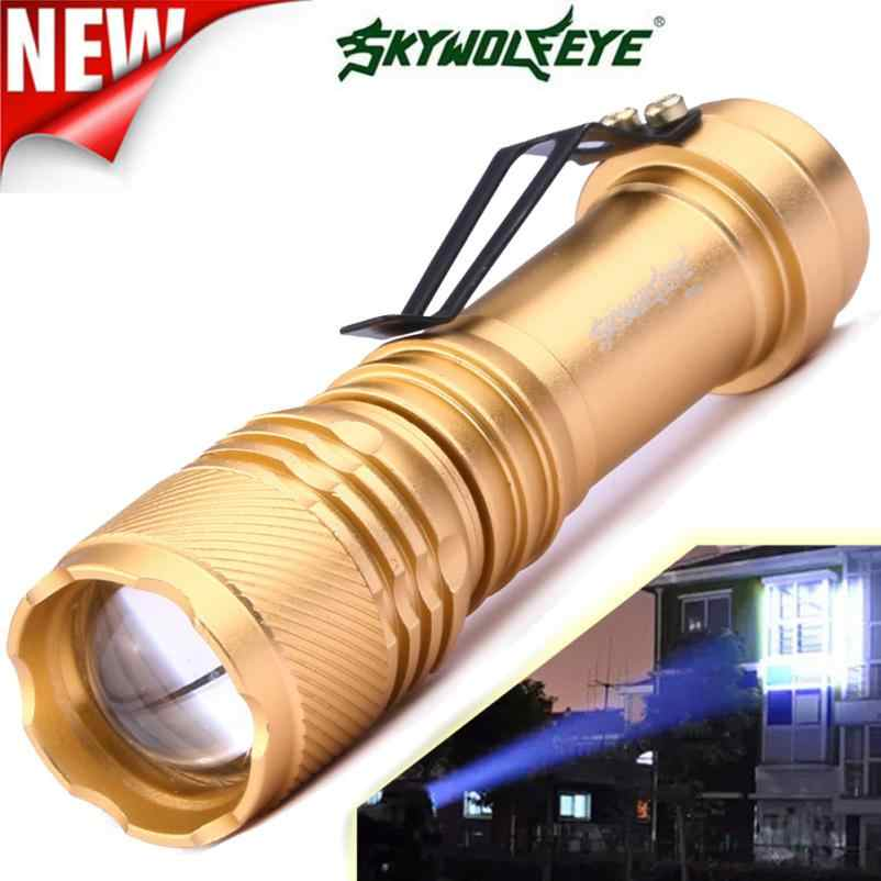 DC 6000LM 22 Brilhando Transporte Da Gota de Venda Quente CREE Q5 AA/14500 3 Modos ZOOMABLE LED Flashlight Torch Super brilhante