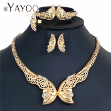 AYAYOO Dubai Bridal Jewelry Sets Gold Color Indian African Beads Jewelry Sets For Women Wedding Statement Necklace Set