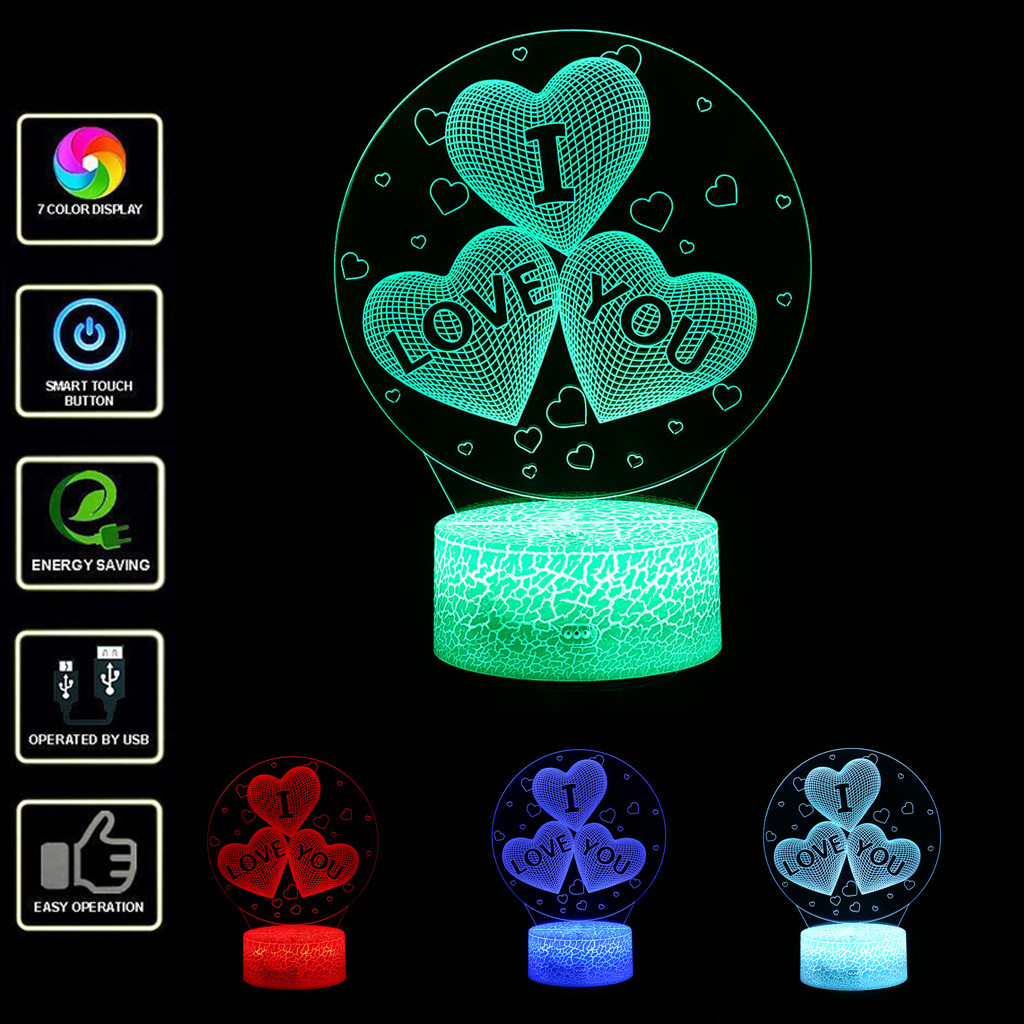 Night Lights Children Led Night Lights Creative Illusion Lamp Light Desk Table Lamp Lighting 7 Color Change New Year Gifts Heart-shaped11.84 Special Summer Sale
