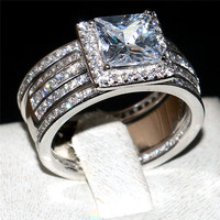 Wedding Ring Set For Women Vintage 925 Silver Ring 3 In 1 With Inlay Square 4ct