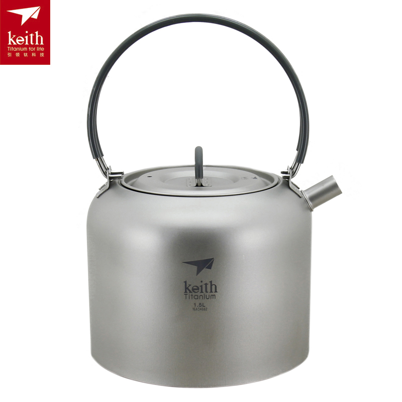 Keith 1.5L Titanium Kettle Ultralight Outdoor Kettle Portable Camping Teapot 210g Ti3907
