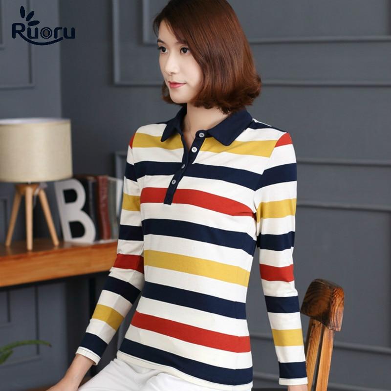 Ruoru M - 4XL Plus Size Polo Shirt Cotton Casual Women Striped Polo Shirt Women Long Sleeve Fashion Autumn Winter Female Polo