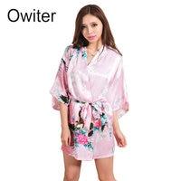 PR007 נשים המודפסת פרחוני הסינית שמלת הכלה שושבינה שמלת קימונו חלוק סגנון פרח כתונת לילה חלוק סאטן משי Sml XL XXL