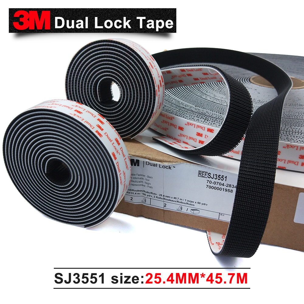 100% 3M Original brand products Black Acrylic double sided tape SJ3551 dual lock tape 1 in * 50 yards 1 roll adhesive tape 3m adhesive tape bicycle helmet mount for 1 4 camera black
