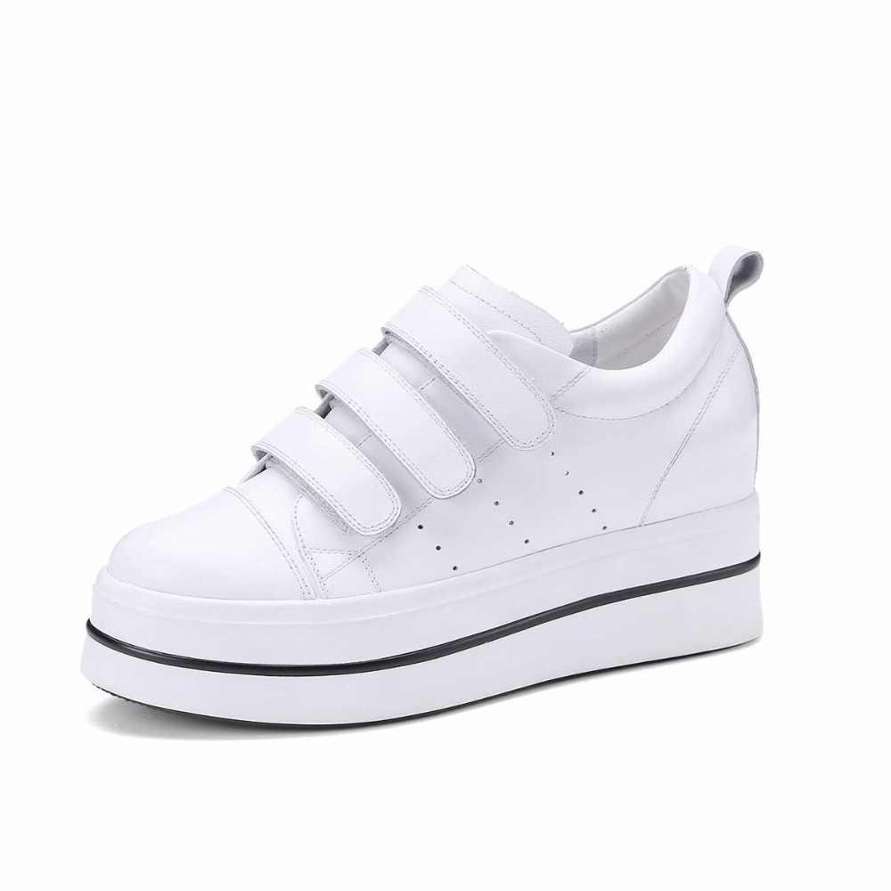 2019 New Arrival Bò Leatehr Thời Trang Dạo Phố Nền Tảng Móc Vòng Sneakers Vòng Toe Đi Rong Cao Gót Giản Dị Giày Lưu Hóa L3f6