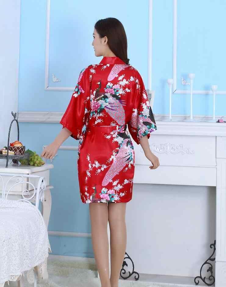 Multicolor kobiety Kimono z paskiem z długim kobiet satynowa piżama lato pani szlafrok pięć rękawem chiński tradycyjny kostium 16