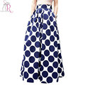 Spring Autumn Navy Blue High Waist Polka Dots Print Pleated Maxi Skirt Fall Contrast Casual A Line Skater 2017 Women Clothing