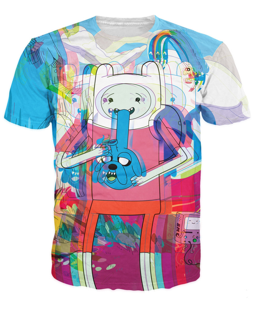 Trip Time T-Shirt Jake and Finn the Adventure Time psychedelic tee Unisex Women Men Summer Style t shirt tops tee Pullover