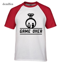 Game Over Wedding Ring T-shirt Men Just Neutered Funny T Shirts Men Fashion Raglan Sleeve Tees Tops