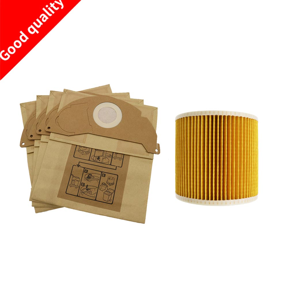 6Pcs paper bags+1Pcs dust Hepa filters for Karcher Vacuum Cleaners parts Cartridge HEPA Filter WD2250 WD3.200 MV2 MV3 WD36Pcs paper bags+1Pcs dust Hepa filters for Karcher Vacuum Cleaners parts Cartridge HEPA Filter WD2250 WD3.200 MV2 MV3 WD3