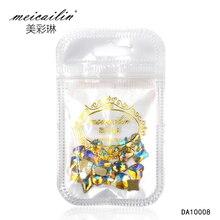 Meicailin10Pcs/lot 3D Flat Back Gold Rhinestone Nail Art Decorations Nail UV Gel Polish Stud Manicure Jewelry Tips Nail DIY Tool
