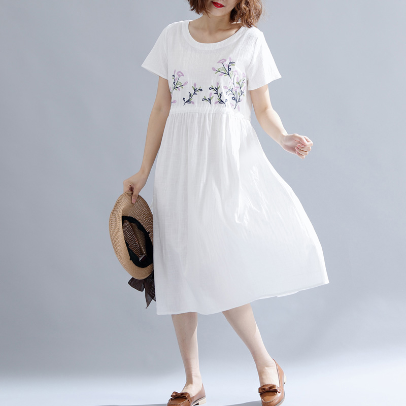 Plus size M-3XL 4XL 5XL whiter cotton linen dress summer print floral embroidery midi shirt dresses elegant vintage loose clothe