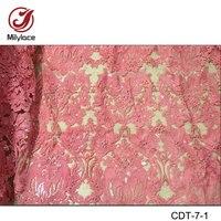 Unique design vente chaude perlée français dentelle tissu blanc populaire tulle dentelle tissu avec paillettes CDT-7