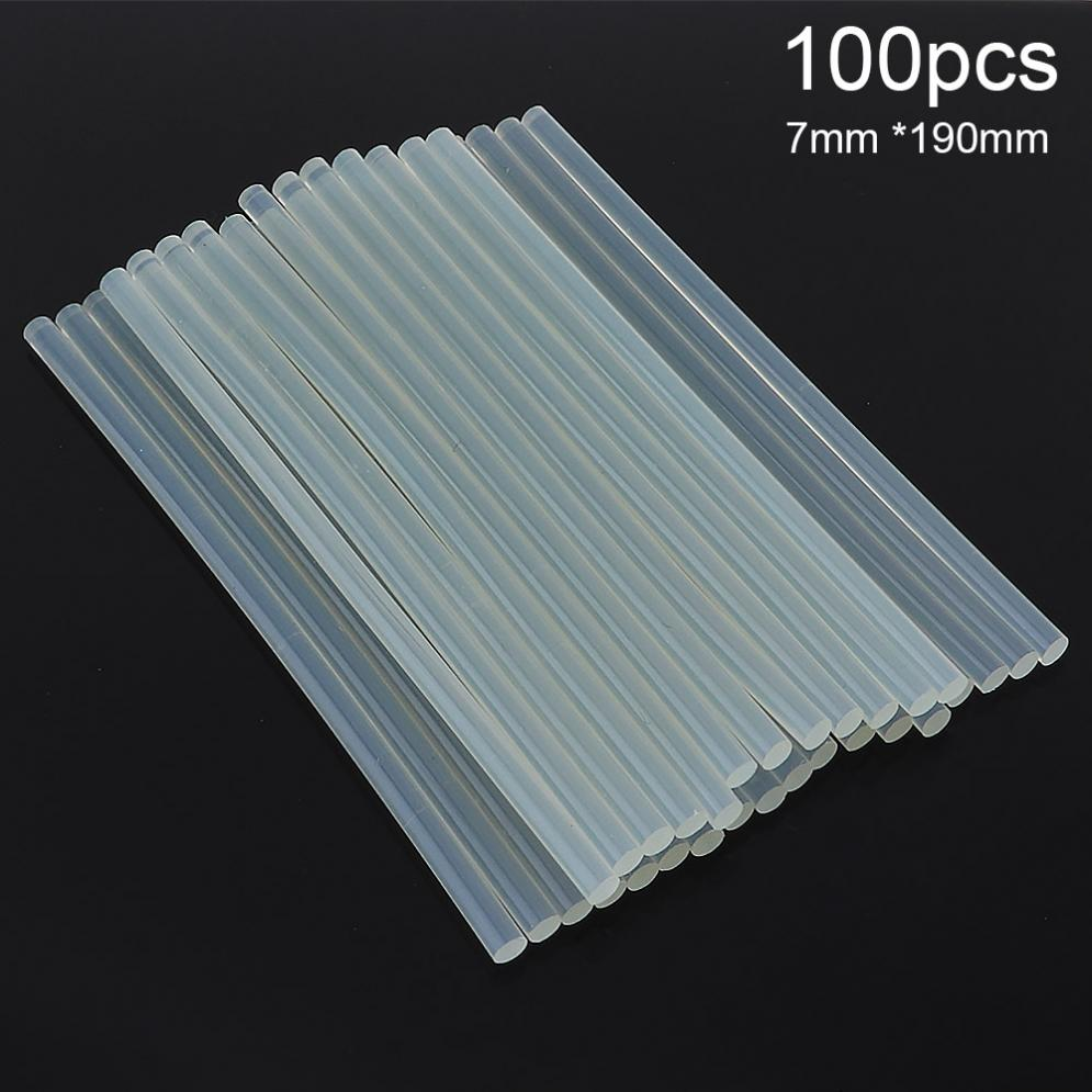 100pcs/lot 7mmx190mm Transparent Hot-melt Gun Glue Sticks For Heat Pistol Gun Adhesive DIY Tools  Repair Alloy Accessories