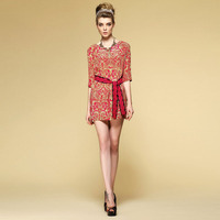 Twill silk floral print dress 1515/Novelty women summer dresses/New fashion party dresses